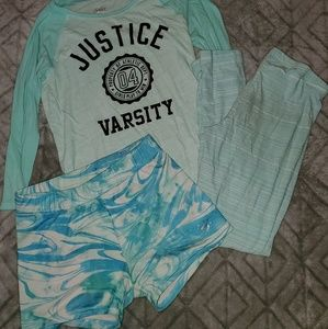 Justice top 12, leggings 16, and athletic shorts12